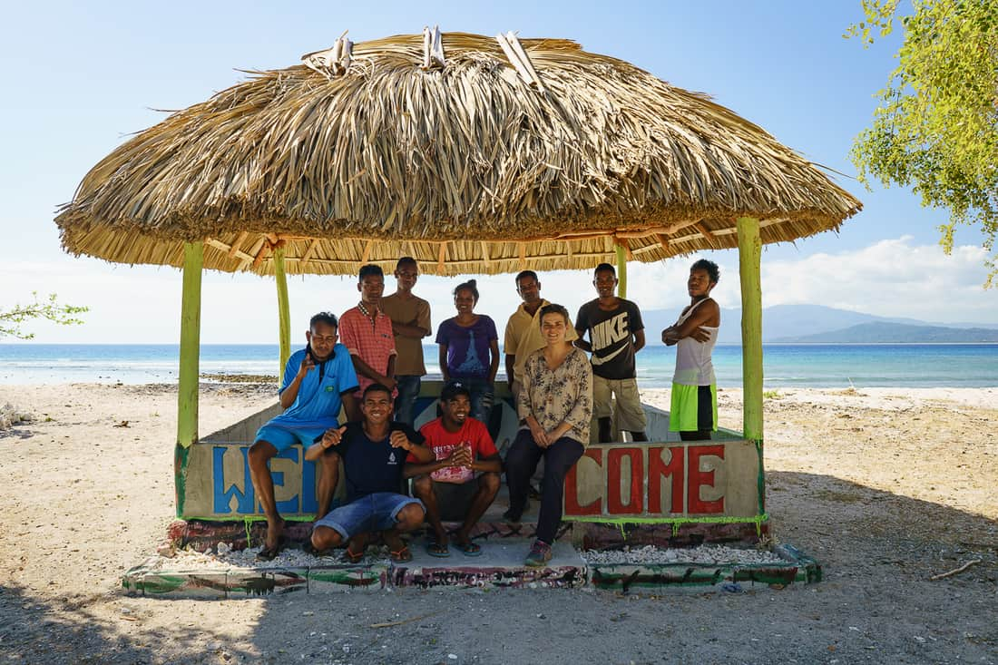 Biacou beach hut with students, Atabae, East Timor