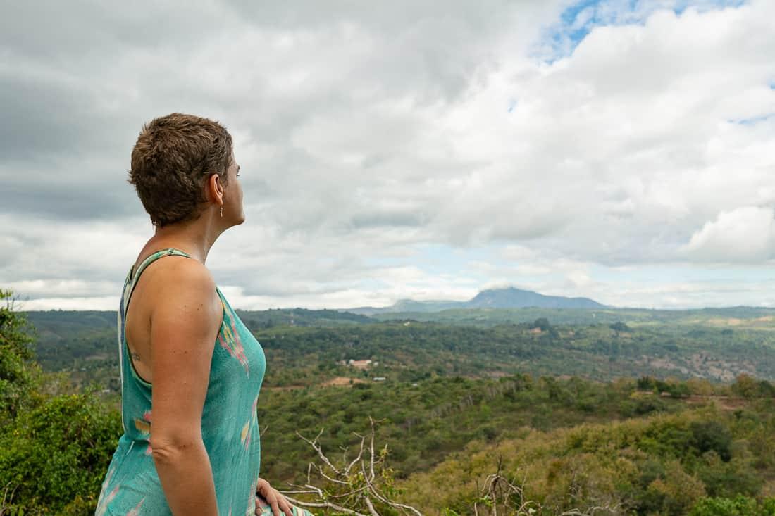 Carola takes in the panorama from Morutaumorubara cave, Balibo, East Timor