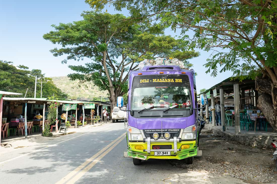 Loes roadside restaurants with typical East Timor bus