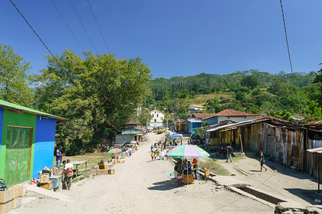 Main road with market stalls, Ermera, East Timor