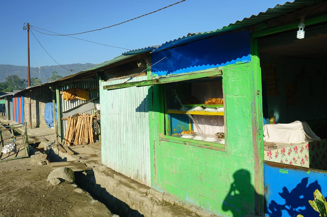 Food stall at Gleno market, East Timor