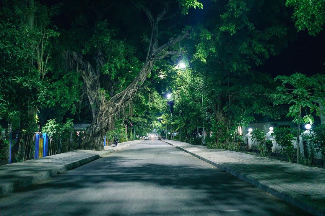 Downtown Pante Macassar main road at night,  Oecusse, East Timor